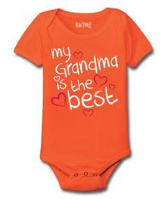 Orange 'My Grandma Is the Best' Bodysuit - Infant #zulily #zulilyfinds