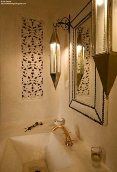 bathroom - morrocan - niche cabinet door scroll saw, leather and studs mirror, Moroccan Design, Moroccan Decor, Moroccan Style, Morrocan Theme, Spa Design, House Design, Style Marocain, Riad Marrakech, Moroccan Bathroom