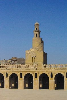 """Masjid in Cairo, Masjid Ibn Ţūlūn .The mosque was commissioned by Ahmad ibn Ţūlūn, the Abbassid governor of Egypt.The mosque was constructed on a small hill called Gebel Yashkur, """"The Hill of Thanksgiving."""" One local legend says that it is here that Noah's Ark came to rest after the Deluge, instead of at Mount Ararat.--Mosques of the world -wikipedia"""