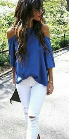 Love this blue top with white jeans.