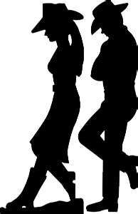 ~ SILHOUETTES ~ Couple with cowboy boots and hat