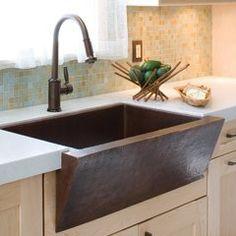 """33"""" x 22"""" Zuma Farm House Kitchen Sink - Antique Copper Rustic Kitchen Sinks, Copper Farmhouse Sinks, Fireclay Farmhouse Sink, Apron Sink Kitchen, Kitchen Sink Design, Single Bowl Kitchen Sink, Copper Kitchen, Kitchen Ideas, Ranch Kitchen"""