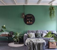 Very happy with my new wall colour: 85 % tijm from Flexa Living Room, Room, Interior, Home Decor Decals, Home Hacks, Home Alone, Wall Colors, Green Wall, Interior Design