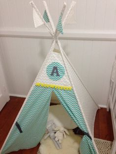 White and Aqua Chevron personalised tepee play by NestNFeather Kids Rooms, Hanging Chair, Grandkids, Nest, Feather, Play, Creative, Handmade