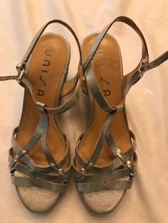 93ec10d21d5d Unisa Unkippey Silver Wedge Metallic Sandal Womens Size 8.5  fashion   clothing  shoes