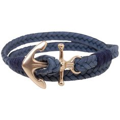 Humble Chic NY Anchor Wrap Bracelet ($30) ❤ liked on Polyvore featuring jewelry, bracelets, navy blue, chain wrap bracelet, nautical jewelry, anchor wrap bracelet, rope chain bracelet and braided bracelet
