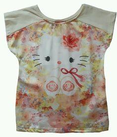 Blusa Hello Kitty cotton ligth com cetim