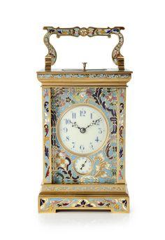 A fine French gilt cloisonné enamel carriage clock, circa 1890 - Gude & Meis Antique Watches, Antique Clocks, Tao, Mantel Clocks, Wall Clocks, Unusual Clocks, Painted Brick Fireplaces, World Clock, Classic Clocks