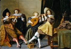 An Elegant Company Playing Music in an Interior by Dirck Hals