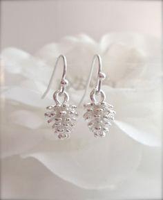 Dangle Earrings – Pine Cone Earrings Silver winter jewellery – a unique product by MadamebutterflyMeagan on DaWanda