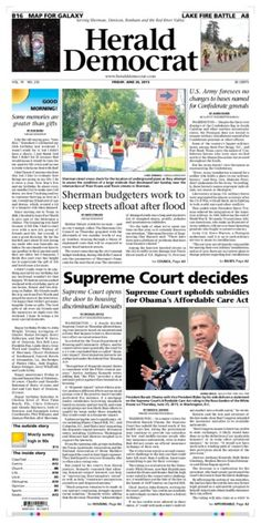 #SupremeCourt decisions fill up Friday's #FrontPage of The Herald Democrat. We're also seeing budget meetings to help repair streets after the #NorthTexasFloods.
