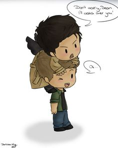 I'm an artist and am always on the lookout for cute things. This was so adorable. Castiel and Dean.