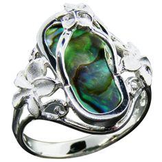 Abalone Flip Flop Plumeria Ring - La Islenita Jewelry