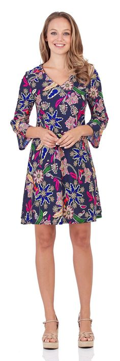 Lexi Shift Dress in Whimsical Floral Navy - FINAL SALE