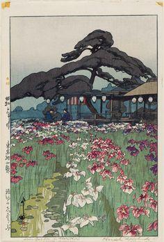 Hiroshi Yoshida (Jap. 1876-1950), Irises at Horikiri, 1928, woodblock print, 37.5 x 25.1 cm