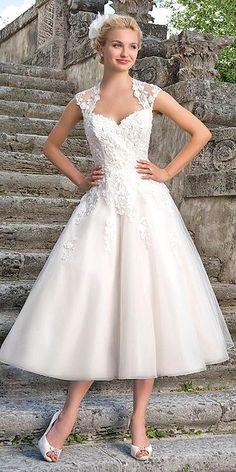 tea length wedding dresses via sincerity - Deer Pearl Flowers / http://www.deerpearlflowers.com/wedding-dress-inspiration/tea-length-wedding-dresses-via-sincerity/