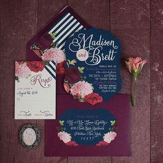 Marsala wedding invitation envelopes. Cute!