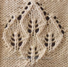 Four Leaf Lace Panel knitting pattern from knitting bee. This would be AMAZINGLY adorable on a children's jacket (like on the back of it) or the side of a tank top! :)