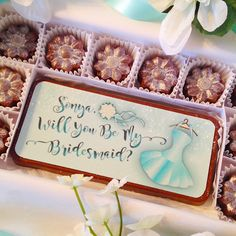 Will You Be My Bridesmaid Chocolates. Personalized Bridal Party Proposal. A unique and beautiful way to ask your best friends to be a part of your wedding. Colorful edible bridesmaid design is like giving your girlfriends a card and chocolates, and even has sparkling sugar bling. By DiamondChocolates
