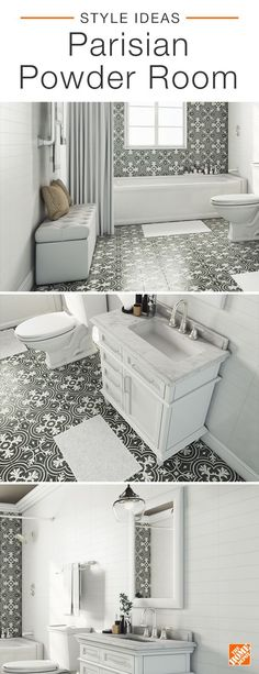 Wall-to-floor vintage-style tile makes this european-inspired powder room a stylish stunner. Furniture and decor are subtly on-trend with a leather-tufted storage bench and white marble-topped vanity offering bright contrast, while a single rustic iron pendant gives the space a hint of industrial charm. Click to learn more about this small but bold bath.