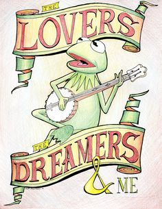 Where my love of puppetry all started.Kermit the Frog The Lovers the Dreamers and Me Rainbow Connection Art Print Rainbow Connection, Les Muppets, Piggy Muppets, Frog Drawing, Fraggle Rock, The Muppet Show, Frog Art, Miss Piggy, Kermit The Frog