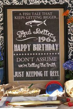 Fishing Birthday Party sign! See more party planning ideas at CatchMyParty.com!