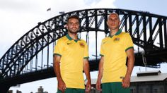 SYDNEY, AUSTRALIA - FEBRUARY 17: Mark Bresciano (R) and Michael Zullo (L) pose during the Australian Socceroos 2014 FIFA World Cup kit launch on February 17, 2014 in Sydney, Australia. (Photo by Matt King/Getty Images)