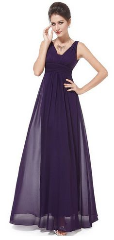 Double V-Neck Ruched Waist Ladies Long Evening Dress