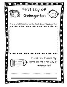 Have your kindergarten students draw a self portrait and write their name on the first day of school and the last day of school. These sheets can be added to a kindergarten memory book.