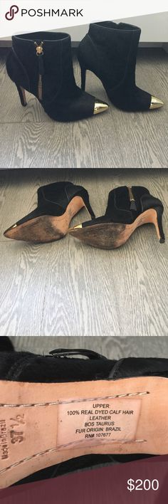 Pony hair booties Alice and Olivia pony hair booties with metal toe worn once Alice + Olivia Shoes Ankle Boots & Booties