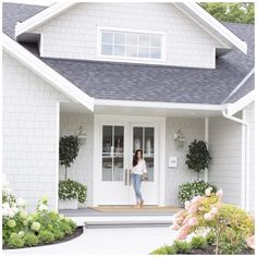 White Exterior Paint, White Exterior Houses, Exterior Paint Colors For House, Grey Houses, Modern Farmhouse Exterior, Paint Colors For Home, White House Exteriors, Grey Homes Exterior, Exterior House Paint Colors