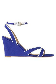 Ann Taylor Liva Striped Canvas Wedge Sandals, $98, available at Ann Taylor.
