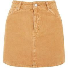 MOTO Camel Cord Mini Skirt (3.030 RUB) ❤ liked on Polyvore featuring skirts and mini skirts