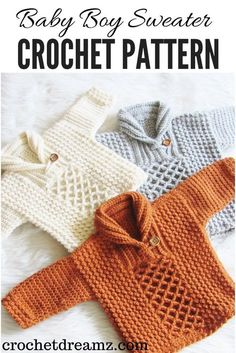 Crochet Baby Boy Sweater Pattern in 7 different sizes. Make one for your little boy today. The pattern has a beautiful mix of textures and a classy shawl collar. Crochet Baby Boy Sweater Pattern in 7 different sizes. Crochet Baby Sweater Pattern, Crochet Baby Sweaters, Baby Sweater Patterns, Crochet Baby Clothes, Crochet Shawl, Baby Patterns, Baby Knitting, Knit Crochet, Knitting Sweaters