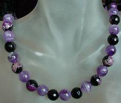 Purple Amethyst and Purple Agate Necklace  20lg 51cm   by camexinc, $30.00