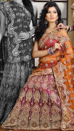 $330.16 Orange and Pink  Bridal Designer Lehenga Choli 23764