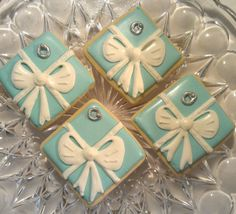 12 Tiffany Box Present  White and Blue Decorated Sugar Cookies Wedding Favor Bridal Shower Silver ring. $36.00, via Etsy.