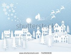 Christmas and New Year. Illustration of Santa Claus on the sky coming to City. minimal concept. Merry Christmas card. Winter Snow,