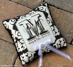Damask Wedding Ring Bearer Pillow  Monogram by Freshline on Etsy, $49.95