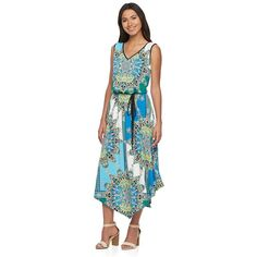 Women's Suite 7 Kaleidoscope Blouson Maxi Dress, Size: 10, Blue Other
