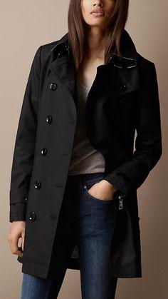Trench-coat mi-long en popeline de coton à sous-gorge double | Burberry
