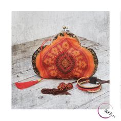 Evening purse bag, oriental bag. Bohostyle handbag, bohochic. Orange purse bag. Small bag. Oriental design. by QlkaArt on Etsy