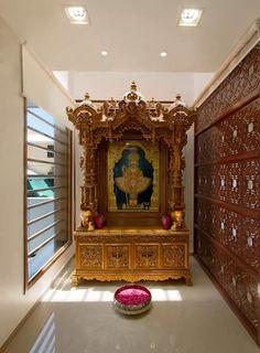 Sanjay patel - Bungalow: modern Living room by P & D Associates Wooden Temple For Home, Temple Design For Home, Temple Room, Home Temple, Craft Room Tables, Mandir Design, Pooja Room Door Design, Indian Interiors, Puja Room
