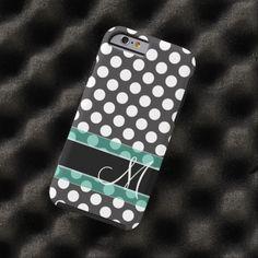 Polka Dot Pattern with Monogram Tough iPhone 6 Case