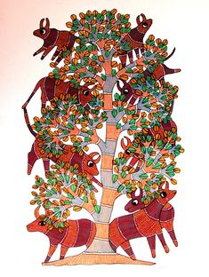Gond Art from Madhya Pradesh by The India Craft House India Crafts, Home Crafts, Arts And Crafts, Gond Painting, N Animals, Indian Folk Art, Acrylic Colors, Tribal Art, Art Forms