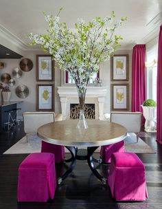 Contemporary Living Room with Radiant Orchid {Anthony Michael Interior Design, Ltd.}