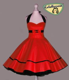 50's vintage dress full skirt uni red dress by Lolablossomclothing, $99.00
