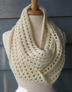 SUMMER SALE Crochet Infinity Scarf Leah70 Ivory by ArtsyCrochet, $20.00