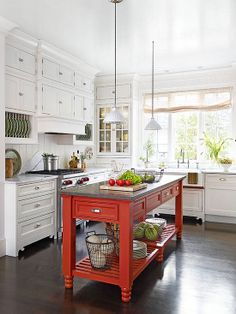 Idea. Move upper cabinets up to ceiling and put short cabinets below or the dish racks shown or open shelf or even a combo of the above.