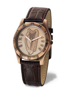 Irish Penny Watch - Bronze Brown Band Watch